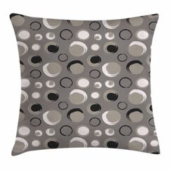 Dots Brushstrokes Grunge Square Pillow Cover Size: 16