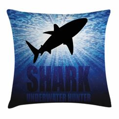 Shark Underwater Hunter Danger Square Pillow Cover Size: 16