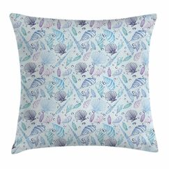 Nautical Seashells Bubble Ocean Square Pillow Cover Size: 18