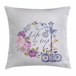 Shabby Elegance Decor Life is Trip Square Pillow Cover Size: 18