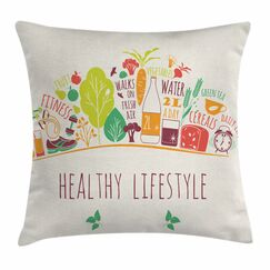 Fitness Cute Body-Care Icons Square Pillow Cover Size: 24