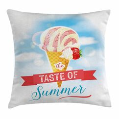 Ice Cream Summer Taste Square Pillow Cover Size: 18