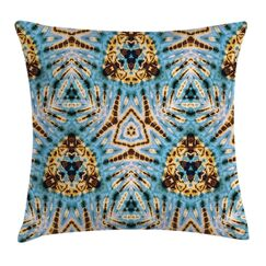 Gold Abstract Tribal Patterns Square Pillow Cover Size: 24