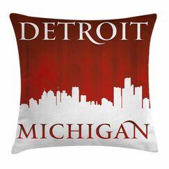 Detroit Decor Michigan City Square Pillow Cover Size: 18
