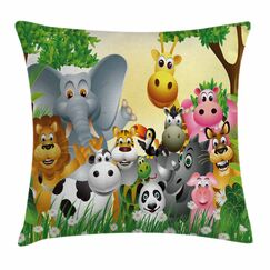 Cute Animals Jungle Square Pillow Cover Size: 18