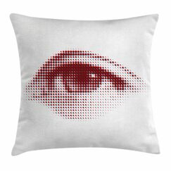 Eye Retro Halftone Dotted Shape Square Pillow Cover Size: 16