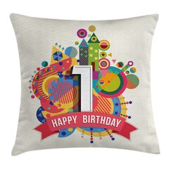 Colorful Birthday Theme Castle Square Pillow Cover Size: 24