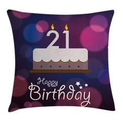 Happy Birthday Quote Pillow Cover Size: 20