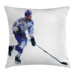 Modern Hockey Player Triangles Pillow Cover Size: 20