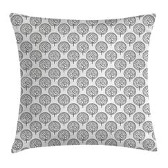 Garden Leaves Circles Artful Pillow Cover Size: 24
