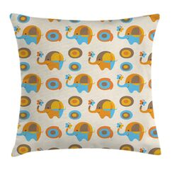 Kids Wall Elephant Butterfly Pillow Cover Size: 16