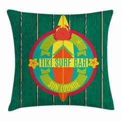 Tiki Bar Decor Surf Bar Holiday Square Pillow Cover Size: 24