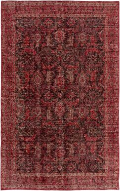 Heerhugowaard Hand-Knotted Red Area Rug Rug Size: Rectangle 8' x 11'