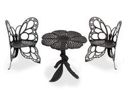 Butterfly 3 Piece Bistro Set Finish: Black
