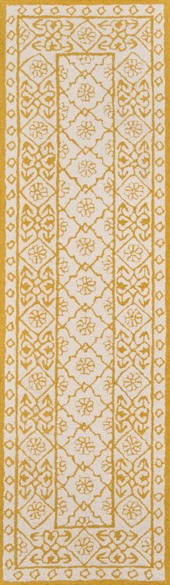 Anaya Hand-Hooked Gold/White Area Rug Rug Size: Runner 2'3