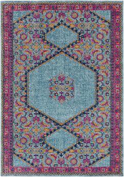 Arabi Tibetan Blue/Pink Area Rug Rug Size: Rectangle 5'3
