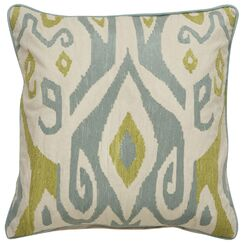 Jadon Tribal Pattern Cotton Throw Pillow Color: Ivory / Blue Surf