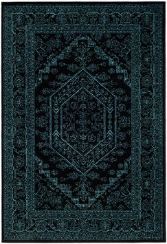 Connie Black/Teal Area Rug Rug Size: Round 6'