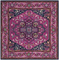 Blokzijl Hand-Tufted Wool Pink/Navy Area Rug Rug Size: Square 5'