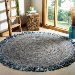 Abhay Boho Hand Woven Cotton Gray/Blue Area Rug Rug Size: Round 6'