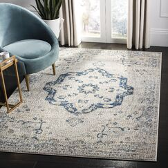 Thursa Navy/Ivory Area Rug Rug Size: Rectangle 5'3