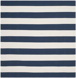 Brookvale Hand-Woven Cotton Navy/Ivory Area Rug Rug Size: Square 8'
