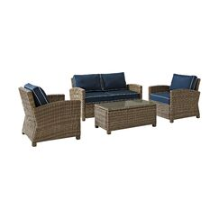 Dardel 4 Piece Sofa Set with Cushions Fabric: Navy