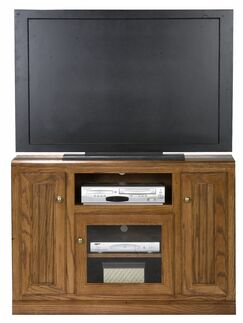 Didier Wood TV Stand Door Type: Plain Glass, Color: Smokey Blue Oak