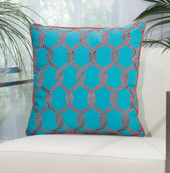 Hebrides Woven Ropes Outdoor Acrylic Throw Pillow Color: Turquoise/Coral