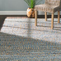 Bernd Hand-Woven Natural/Blue Area Rug Rug Size: Runner 2'3