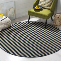 Verde Ivory/Navy Indoor/Outdoor Area Rug Rug Size: Square 6'