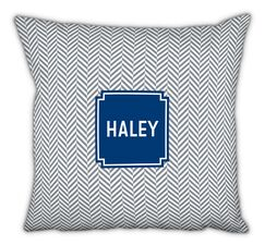 Herringbone Block Personalized Cotton Throw Pillow