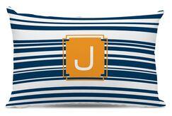 Block Island Single Initial Cotton Lumbar Pillow Letter: N
