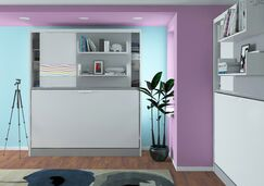 Gautreau Parete Letto Wall Twin Murphy Bed Color: Gloss White and Mat Silver