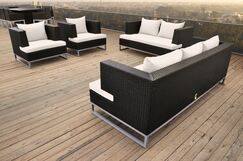 Braccio 4 Piece Rattan Sofa Set with Cushions Color: Black, Fabric: White