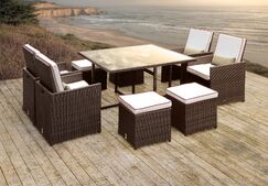 Stella II Patio Rattan 9 Piece Dining Set with Cushions and Rectangular Toss Pillows Cushion Color: White/Red