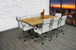 9 Piece 6.4' Rectangular Conference Table Set Finish: White