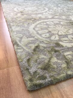 Wool Floral Hand-Tufted Charcoal/Green Area Rug Rug Size: 6
