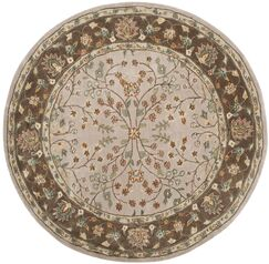 Regner Hand-Hooked Ivory/Taupe Area Rug Rug Size: Round 6' x 6'
