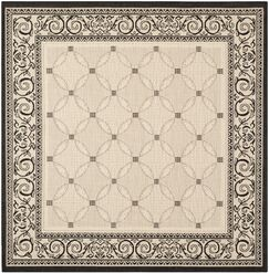 Beasley Ivory/Black Border Outdoor Rug Rug Size: Square 7'10