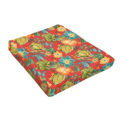 Floral Indoor/Outdoor Dining Chair Cushion Fabric: Red