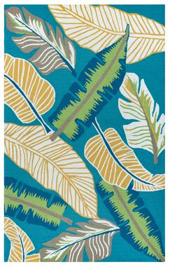 Mako Hand-Tufted Teal Indoor/Outdoor Area Rug Size: Rectangle 7'6