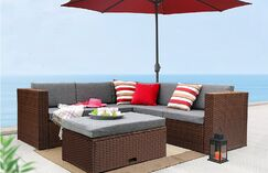 Hansley 4 Piece Sectional Set with Cushions Frame Color: Brown