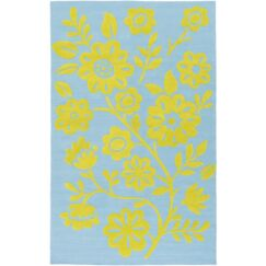 Cesar Hand-Hooked Green/Blue Area Rug Rug Size: Rectangle 2' x 3'