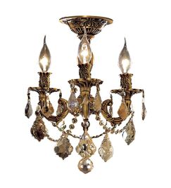 Utica 3-Light Candle Style Chandelier Color / Crystal Color / Crystal Trim: French Gold / Crystal (Clear) / Elegant Cut