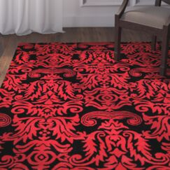 Levens Hand-Tufted Black/Red Area Rug Rug Size: Rectangle 5' x 8'