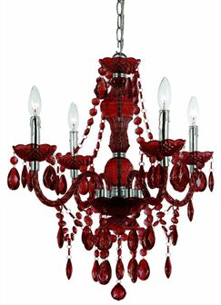 Ice Palace 4-Light Crystal Chandelier Color: Red