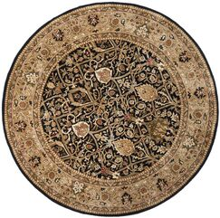 Empress Hand-Tufted Wool Black/Gold Area Rug Rug Size: Round 8'