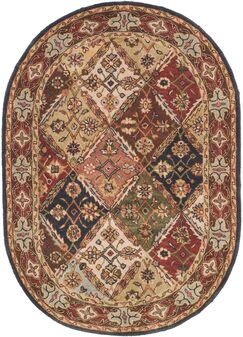 One-of-a-Kind Balthrop Floral Hand-Tufted Wool Green/Red Area Rug Rug Size: Oval 4'6