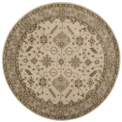 Colliers Hand-Tufted Wool Cream/Light Gray Area Rug Rug Size: Round 7'